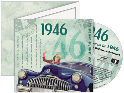1946 Classic Years Greeting Card with Hit Songs, Download Code and retro CD