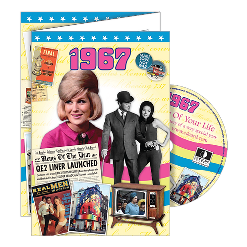 1967 Year Of Birth Greeting Card with DVD