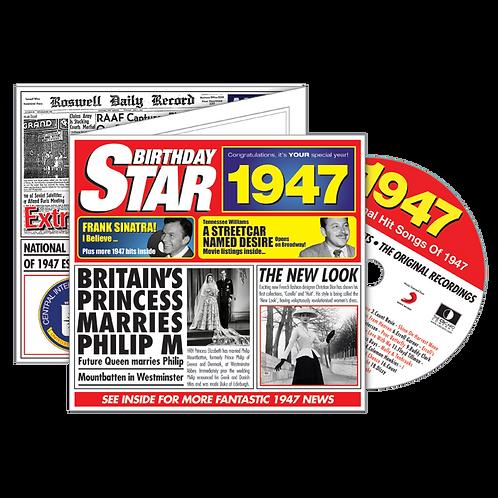 1947 Birthday Star  - Year Of Birth Music Downloads Greeting Card + Retro CD