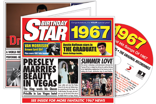 1967 Birthday Star Greeting Card with Hit Songs, Download Code and retro CD