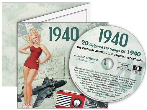 1940 Classic Years Greeting Card with Hit Songs, Download Code and retro CD
