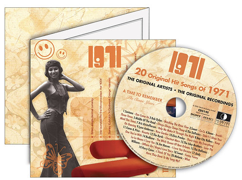 1971 Classic Years Greeting Card with Hit Songs, Download Code and retro CD