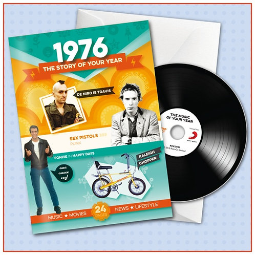 1976 Booklet Greeting Card with Hit Songs, Download Code and retro CD