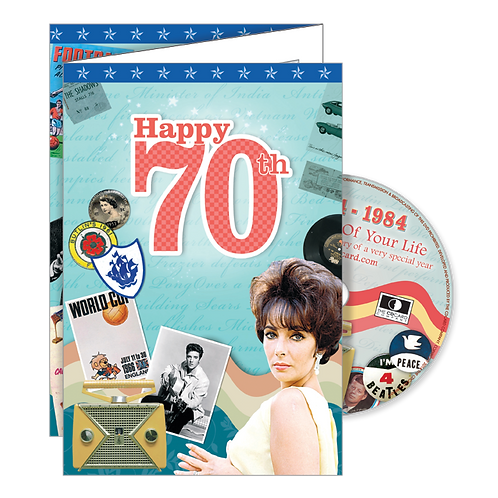 70th Birthday Greeting Card with DVD
