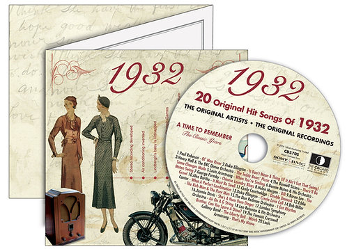 1932 Classic Years Greeting Card with Hit Songs, Download Code and retro CD