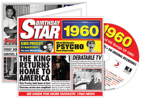 1960 Birthday Star Greeting Card with Hit Songs, Download Code and retro CD
