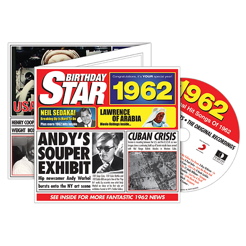 1962 Birthday Star - Year Of Birth Music Downloads Greeting Card + Retro CD