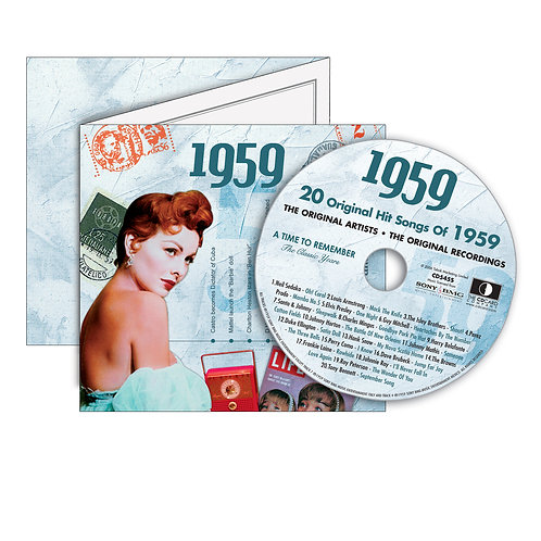 1959 Classic Years - Year Of Birth Music Downloads Greeting Card + Retro CD