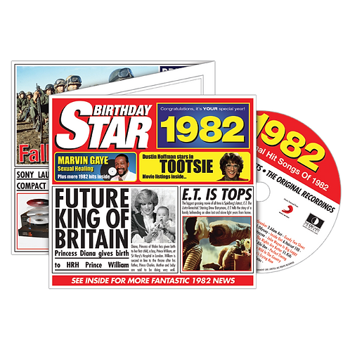1982 Birthday Star - Year Of Birth Music Downloads Greeting Card + Retro CD