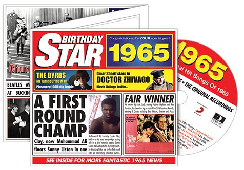 1965 Birthday Star Greeting Card with Hit Songs, Download Code and retro CD