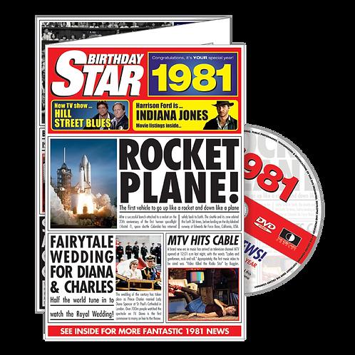 1981 Birthday Star - Year Of Birth Greeting Card with DVD