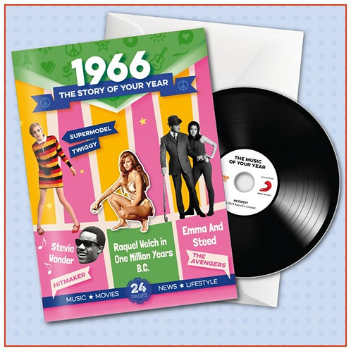 1966 Booklet Greeting Card with Hit Songs, Download Code and retro CD