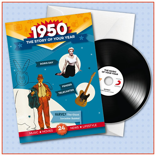 1950 Booklet Greeting Card with Hit Songs, Download Code and retro CD