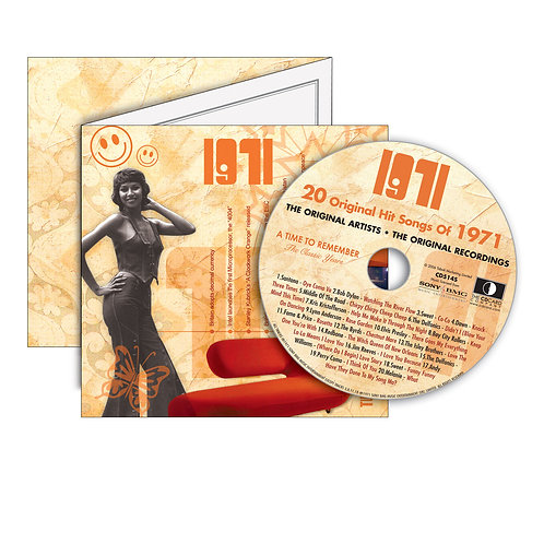 1971  Classic Years - Year Of Birth Music Downloads Greeting Card + Retro CD
