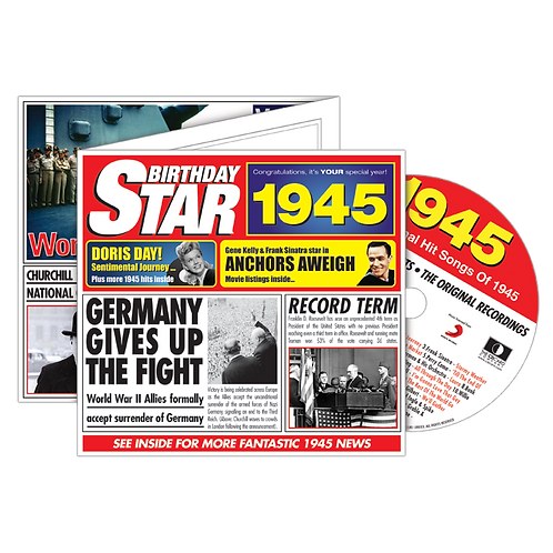 1945 Birthday Star  - Year Of Birth Music Downloads Greeting Card + Retro CD