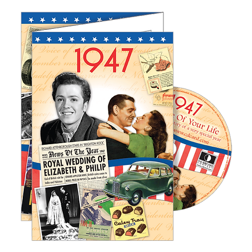 1947 Year Of Birth Greeting Card with DVD