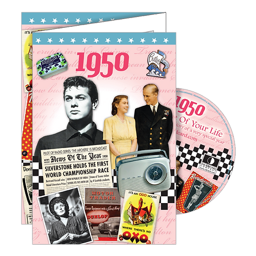 1950 Year Of Birth Greeting Card with DVD