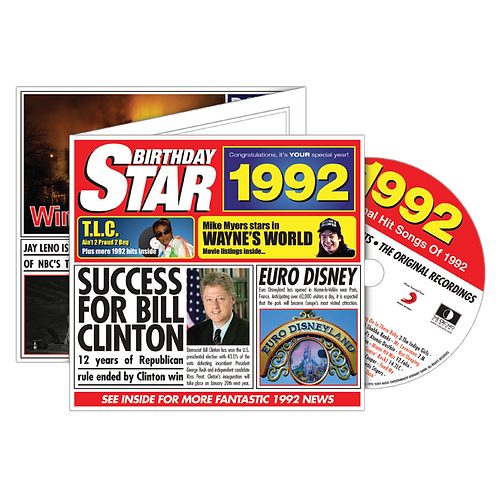 1992 Birthday Star Greeting Card with Hit Songs, Download Code and retro CD