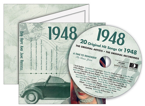 1948 Classic Years Greeting Card with Hit Songs, Download Code and retro CD