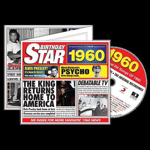 1960 Birthday Star - Year Of Birth Music Downloads Greeting Card + Retro CD
