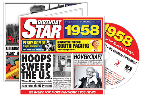 1958 Birthday Star Greeting Card with Hit Songs, Download Code and retro CD