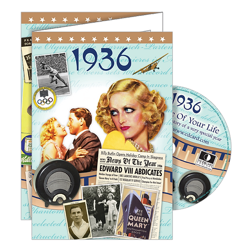 1936 Year Of Birth Greeting Card with DVD