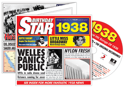 1938 Birthday Star Greeting Card with Hit Songs, Download Code and retro CD