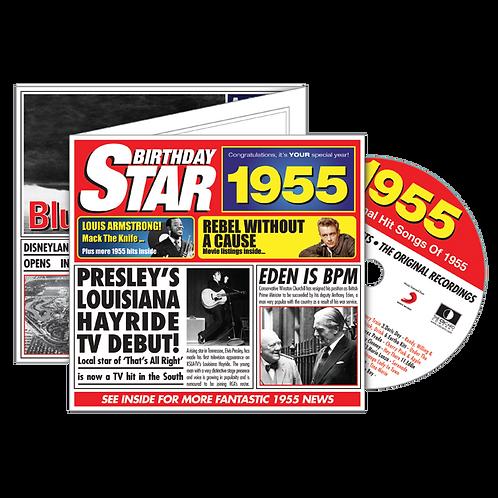 1955 Birthday Star - Year Of Birth Music Downloads Greeting Card + Retro CD