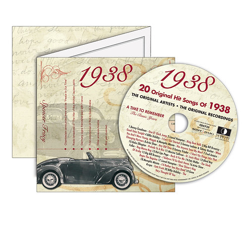 1938 Classic Years - Year Of Birth Music Downloads Greeting Card + Retro CD