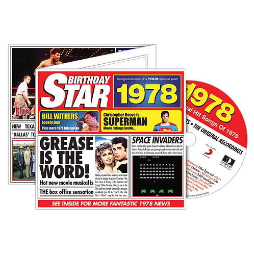 1978 Birthday Star Greeting Card with Hit Songs, Download Code and retro CD