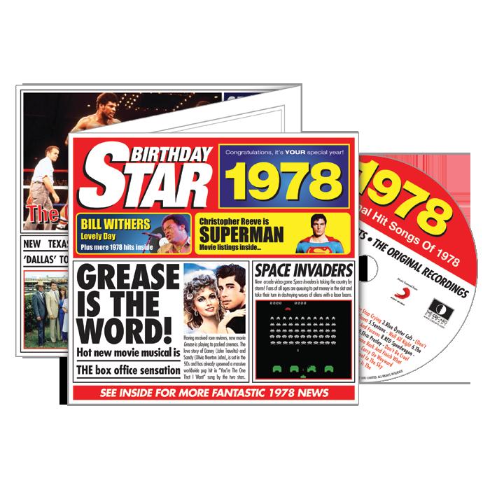 1978 Birthday Star - Year Of Birth CD Greeting Card + Music Downloads