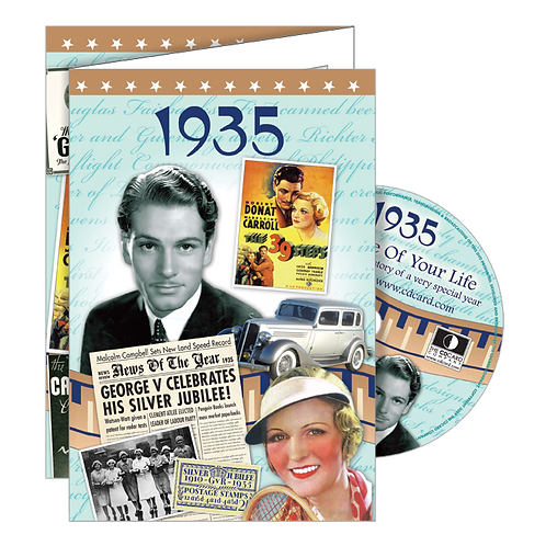1935 Year Of Birth Greeting Card with DVD