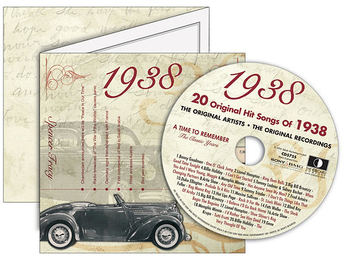 1938 Classic Years Greeting Card with Hit Songs, Download Code and retro CD