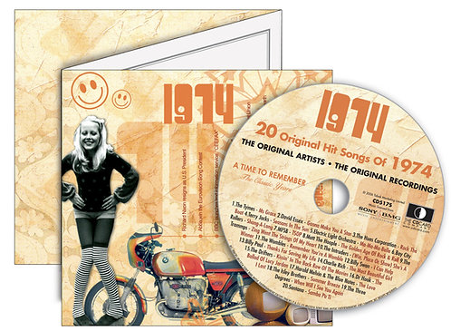 1974 Classic Years Greeting Card with Hit Songs, Download Code and retro CD