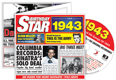 1943 Birthday Star Greeting Card with Hit Songs, Download Code and retro CD