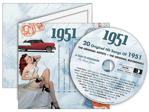 1951 Classic Years Greeting Card with Hit Songs, Download Code and retro CD