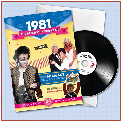 1981 Booklet Greeting Card with Hit Songs, Download Code and retro CD