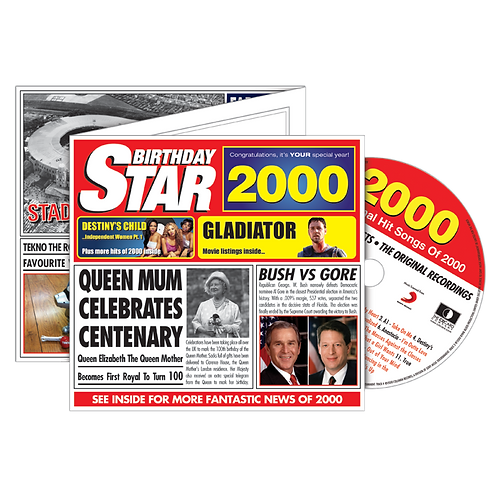 2000 Birthday Star Greeting Card with Hit Songs, Download Code and retro CD