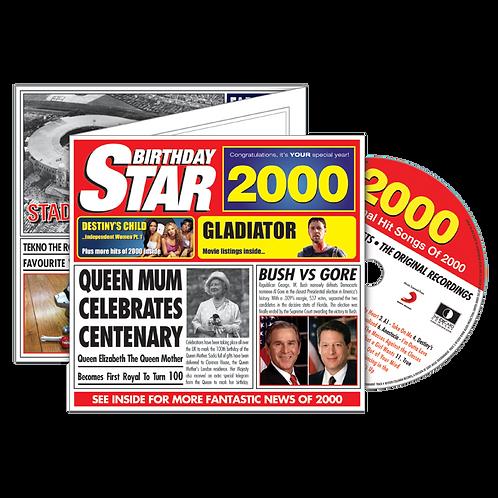 2000 Birthday Star - Year Of Birth Music Downloads Greeting Card + Retro CD