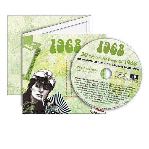 1968 Classic Years - Year Of Birth Music Downloads Greeting Card + Retro CD