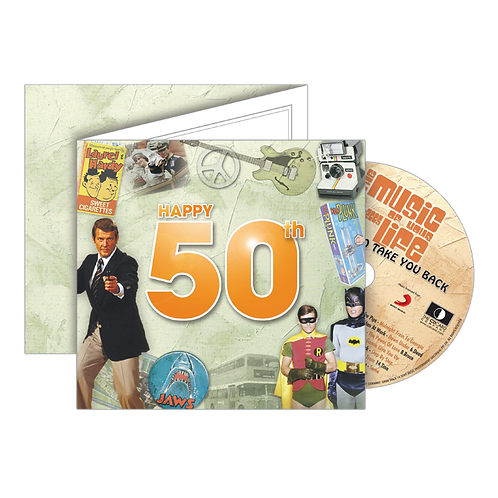50th Birthday Greeting Card with Hit Songs, Download and retro CD
