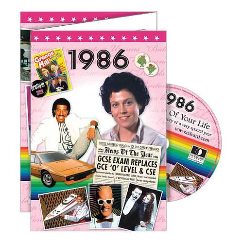 1986 Year Of Birth Greeting Card with DVD