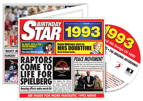 1993 Birthday Star Greeting Card with Hit Songs, Download Code and retro CD