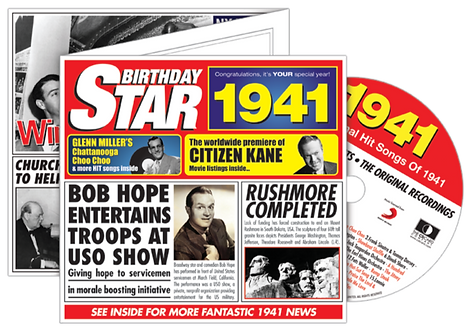 1941 Birthday Star Greeting Card with Hit Songs, Download Code and retro CD