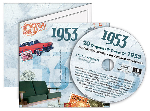 1953 Classic Years Greeting Card with Hit Songs, Download Code and retro CD