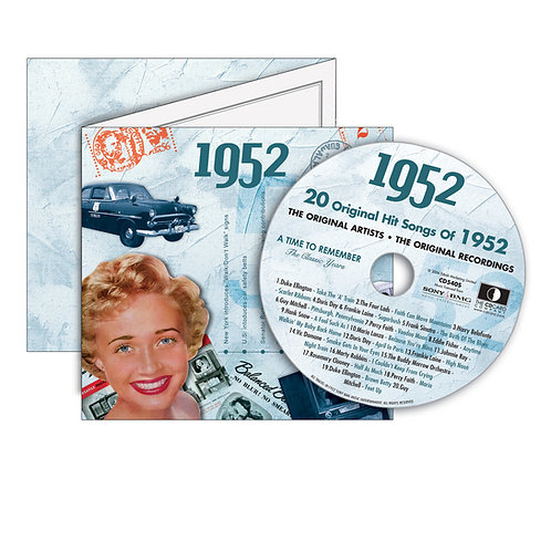 1952 Classic Years - Year Of Birth Music Downloads Greeting Card + Retro CD