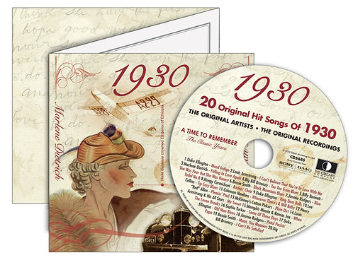 1930 Classic Years Greeting Card with Hit Songs, Download Code and retro CD