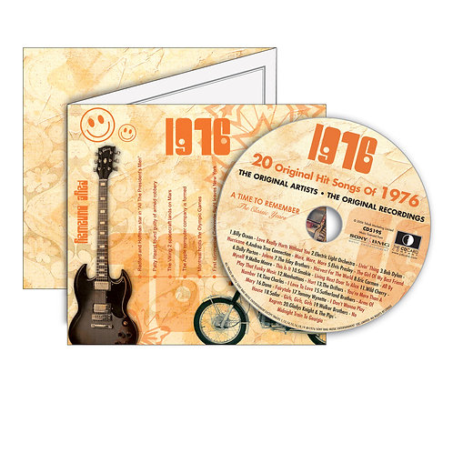 1976 Classic Years - Year Of Birth Music Downloads Greeting Card + Retro CD