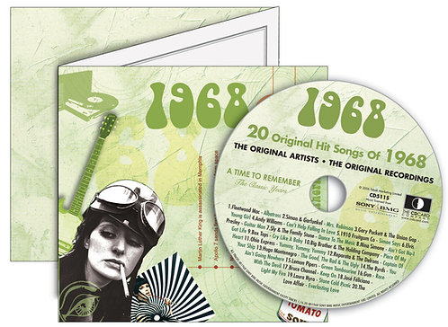1968 Classic Years Greeting Card with Hit Songs, Download Code and retro CD