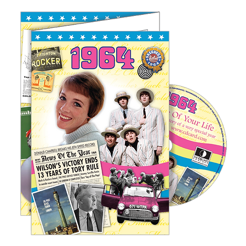 1964 Year Of Birth Greeting Card with DVD